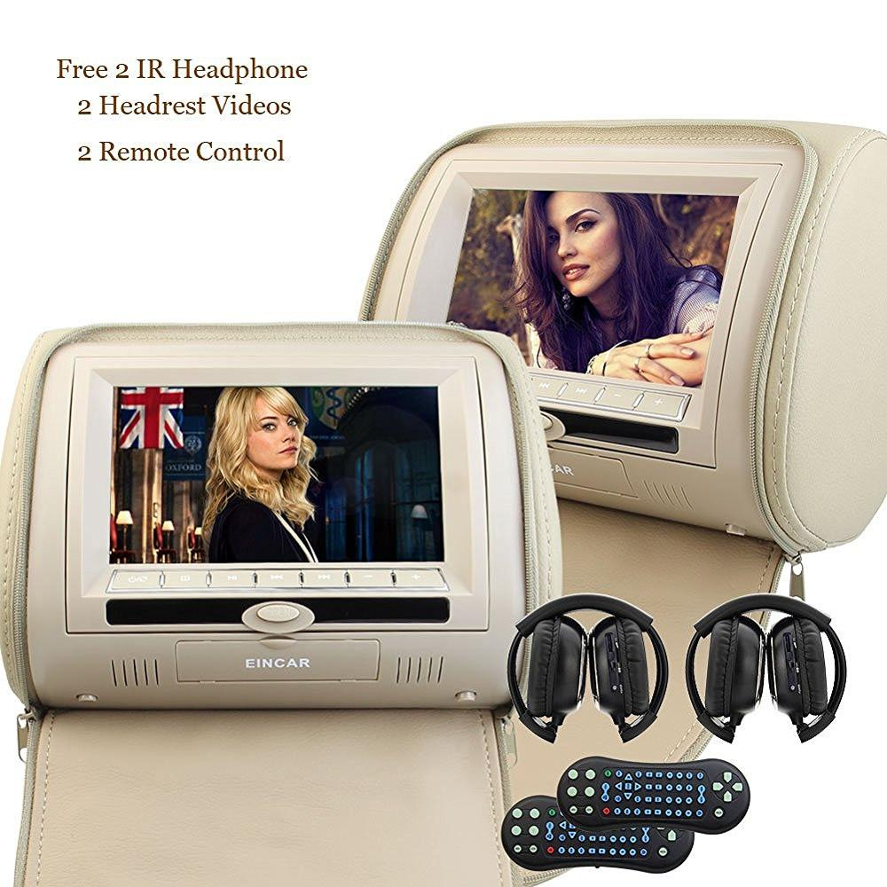 2x 7 Inch Twins HD Digital Screen Car Headrest DVD Player pillow USB SD Port free two IR Headphones Remote Control Car Pillow 9 inch 2 car headrest dvd player pillow universal digital screen zipper car monitor usb fm cd sd tv game two ir remote control