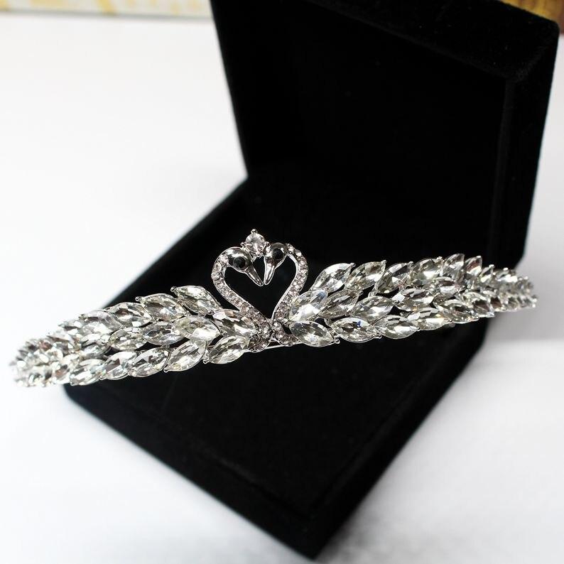 rhinestone swan tiara princess bride headdress wedding hair accessories