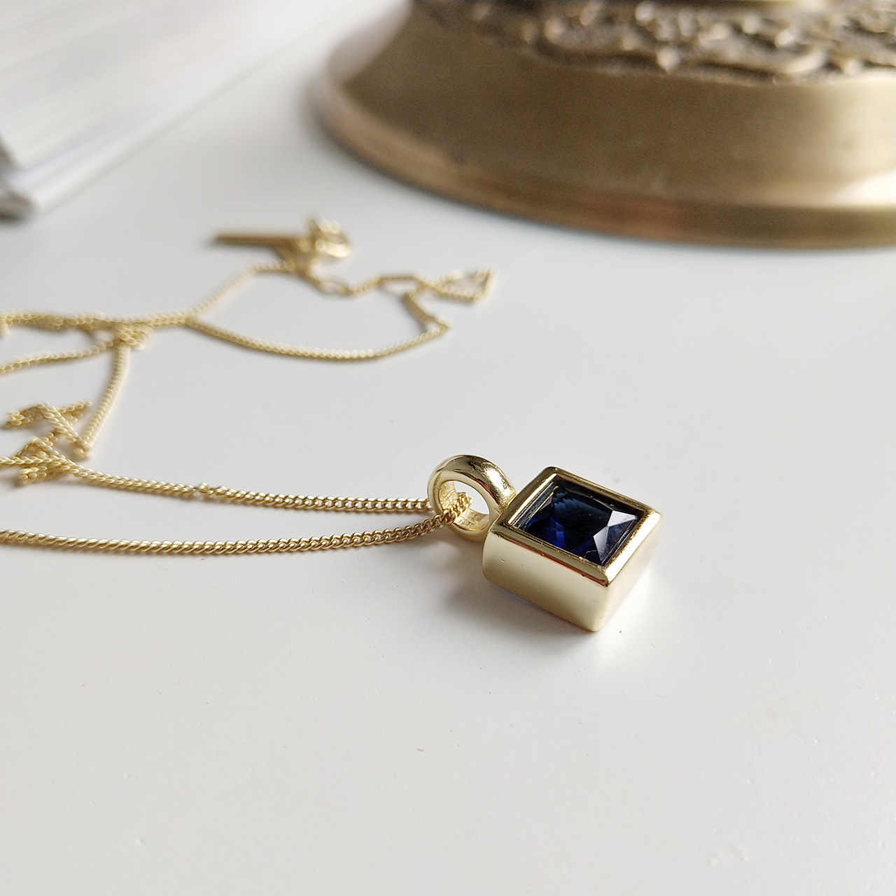 925 Sterling Silver Pendants Necklace Square Blue Sapphire Pendant 18K Gold Necklace 100% 925 Women Anniversary Festival Jewelry