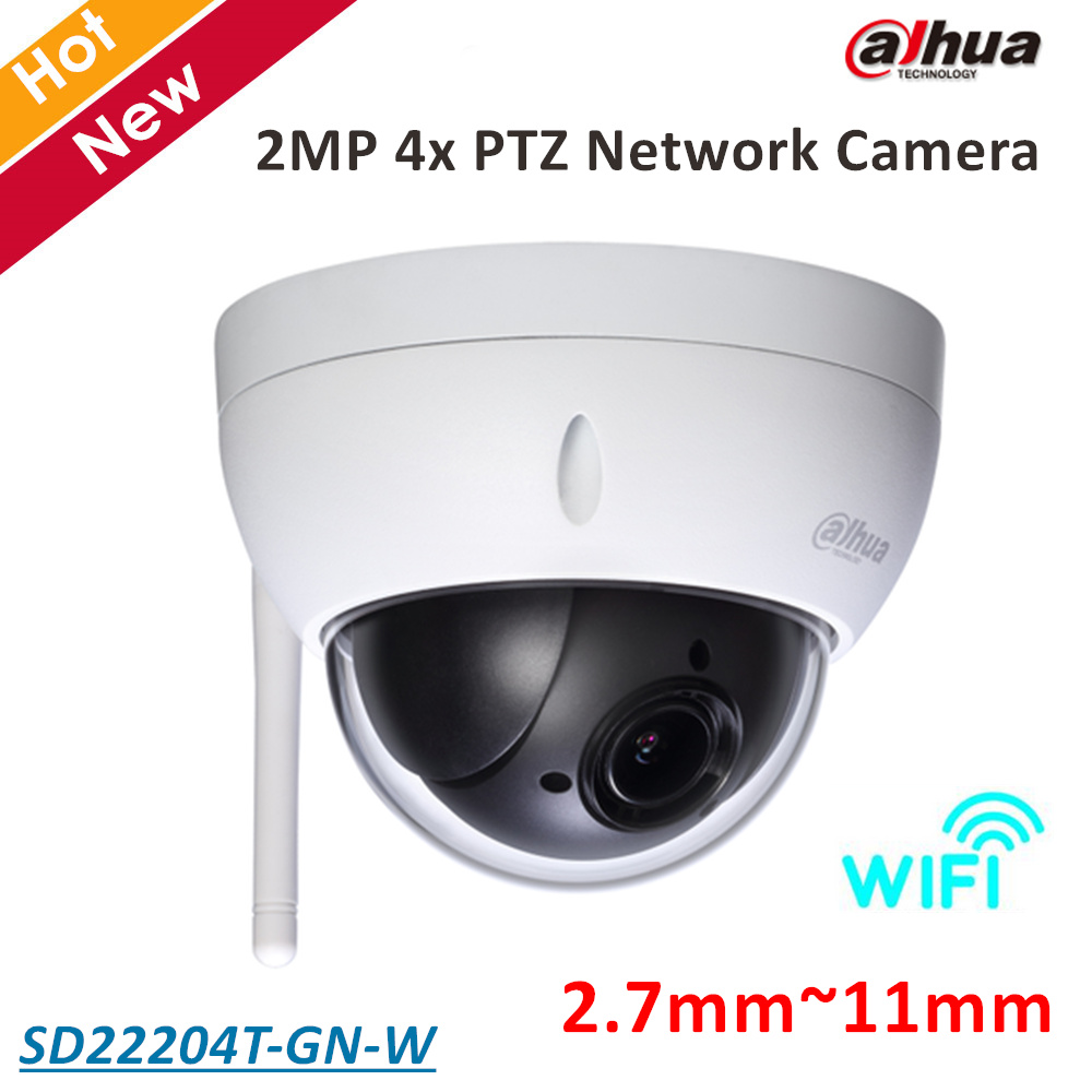 Dahua PTZ Camera SD22204T-GN-W 2MP 4x PTZ Network Camera 2.7mm-11mm Support Wifi Day/Night for Outdoor ip camera security cam hikvision ds 2de7230iw ae english version 2mp 1080p ip camera ptz camera 4 3mm 129mm 30x zoom support ezviz ip66 outdoor poe