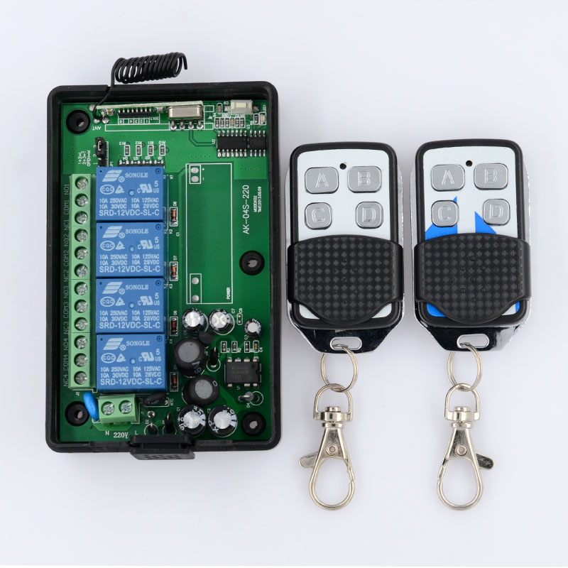 AC 85V 110V 220V 4CH RF Wireless Remote Control System Radio Wireless Lighting Switch Learning Code Receiver Transmitter ac 220v 1channel 10a rf wireless remote control switch system 4 receiver