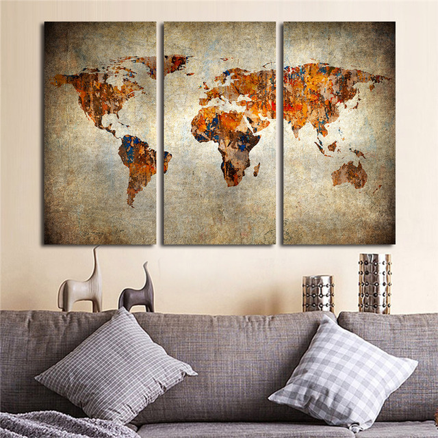 Aliexpress.com : Buy 3 Pcs/Set Vintage World Map Wall Art for Living ...