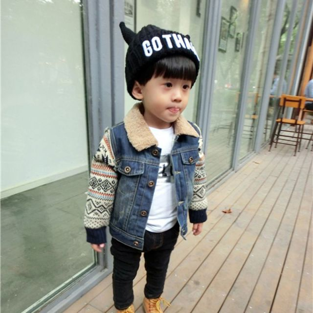 2016 New Winter Kids Girls Denim Jacket Children Plus Thick Velvet Patchwork Jacket Big Virgin Short Warm Coat for Cold Winter
