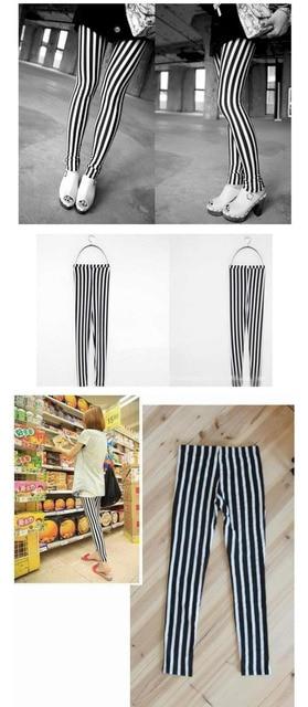 Lady Trendy Fancy Fashion Hot Soft Cool Sexy Black White Strip Print Tights Pants Hot