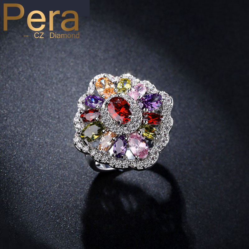 Luxury White Gold Color Bridal Big Flower Colorful Cubic Zirconia Simulated Daimond Jewelry Women Wedding Ring For Brides R035