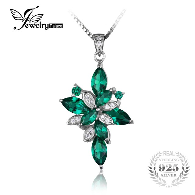 JewelryPalace Flower Shape 2.6ct Created Green Emerald 925 Sterling Silver Pendant Fine Jewelry for Women Fashion