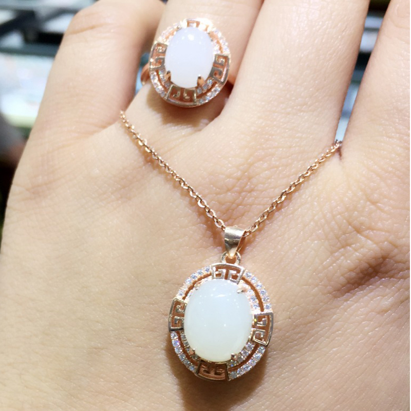 Haleigha Real White Jasper 925 Sterling Silver Gemstone Fine Jewelry Rose Gold Color Classic Engagement Jewelry Set for Women