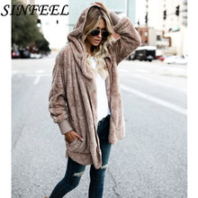 S-5XL Autumn Winter Faux Fur Teddy Fleece Coat Jacket Women Fashion Open Stitch Hooded Coat Female Long Sleeve Jacket Plus Size