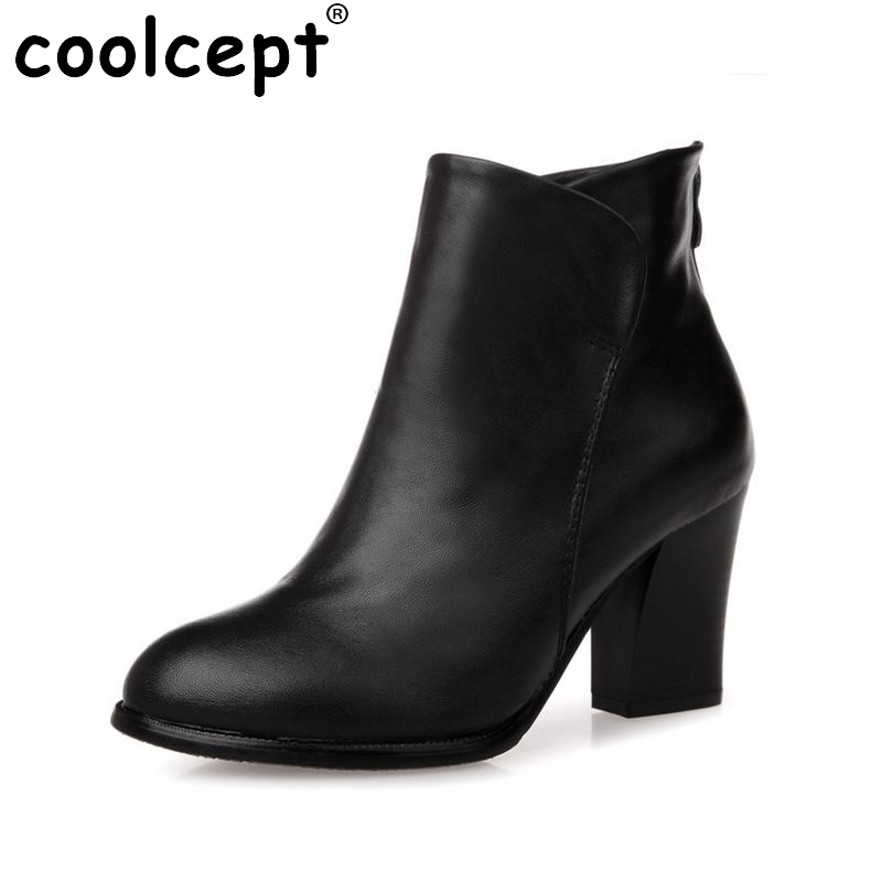 women real genuine leather high heel half short ankle boots snow winter botas footwear heels warm boot shoes R7316 size 34-39