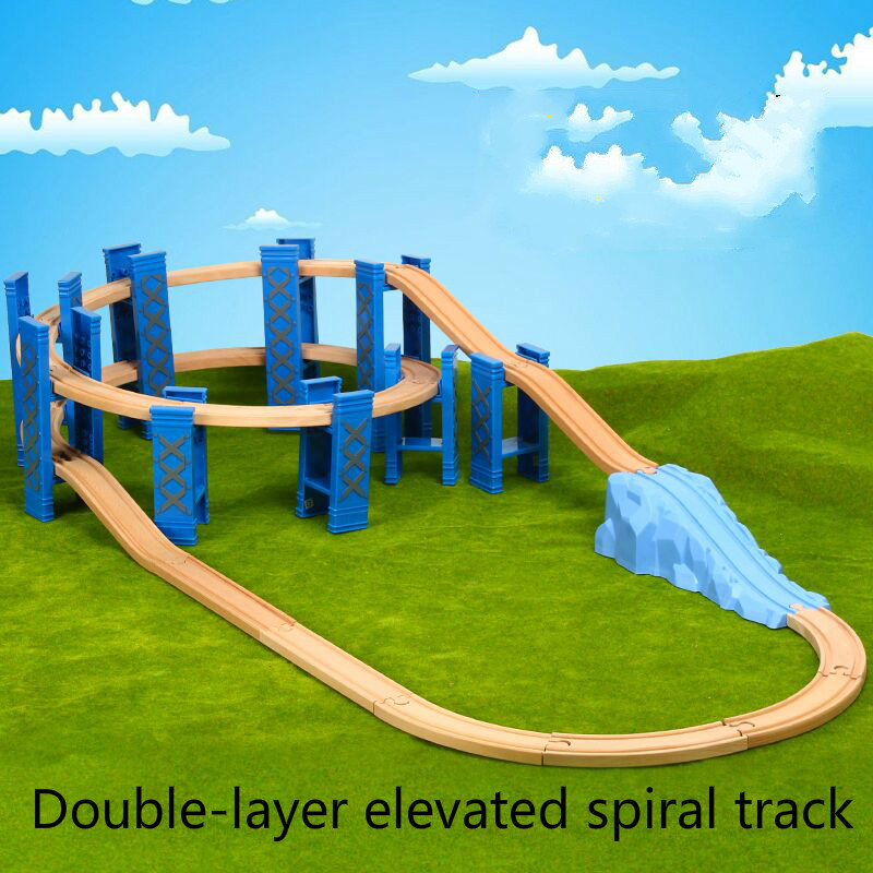9-26PCS Plastic Spiral Train Tracks Wood Railway Accessories Track Bridge Piers With Fit Wooden Thoma Biro Tracks Toys For Kids