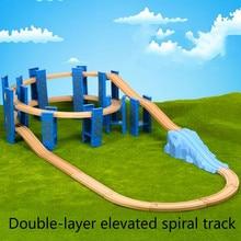 9 26PCS פלסטיק ספירלת פסי רכבת עץ רכבת אביזרי מסלול רציפי גשר עם Fit עץ Thoma בירו מסלולים צעצועים לילדים