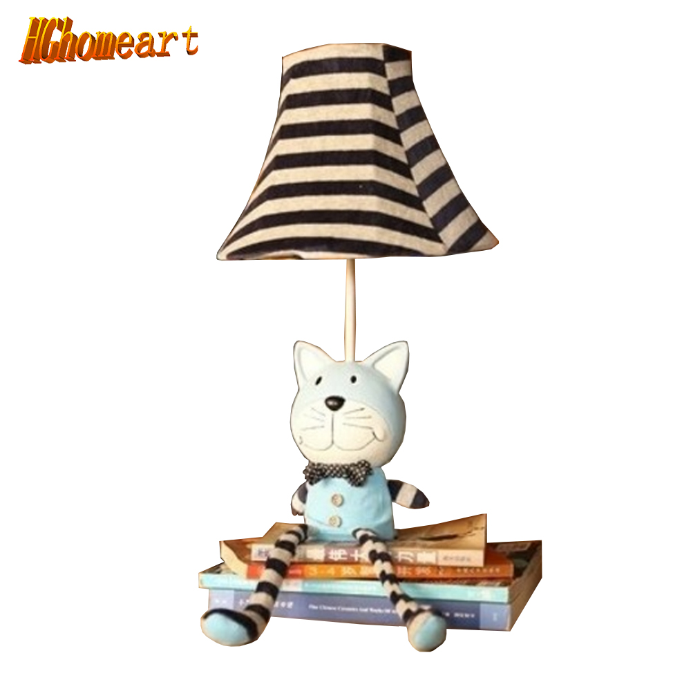 Hghomeart Cartoon Cloth Bedroom Table Lamp Bedside Lamp Creative Cartoon Animals Fabric Lamp Table Lamp Night Light cup striped print fabric table cloth