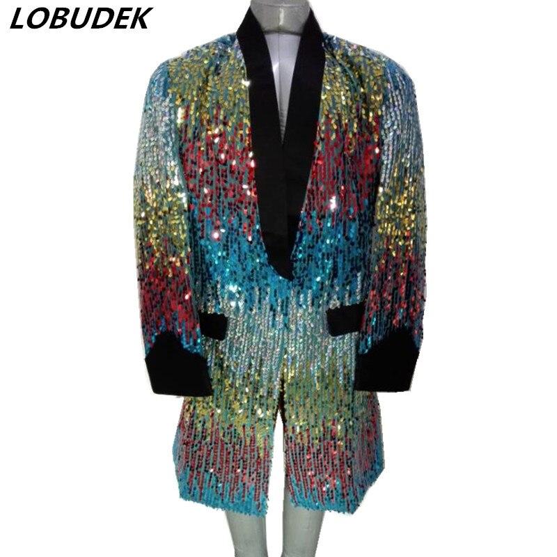 남성 의상 다채로운 sequins 재킷 롱 코트 패션 블레 이저 나이트 클럽 가수 댄서 스타 호스트 무대 의상 마술사 의상