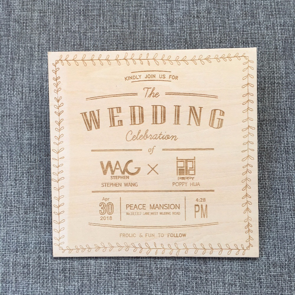 Rustic Wedding invitation, tie the knot design. Laser Etched Wooden ...
