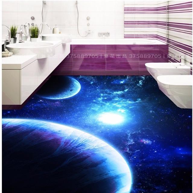 e1b99fab27 Frete Grátis Azul fantasia universo estrela 3D piso pintura corredor sala  de estar salão KTV papel