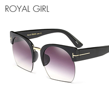 ROYAL GIRL New Square Brand Design Women Rimless Sunglasses Ladies Pink Blue Transparent Gradient Lens Glasses