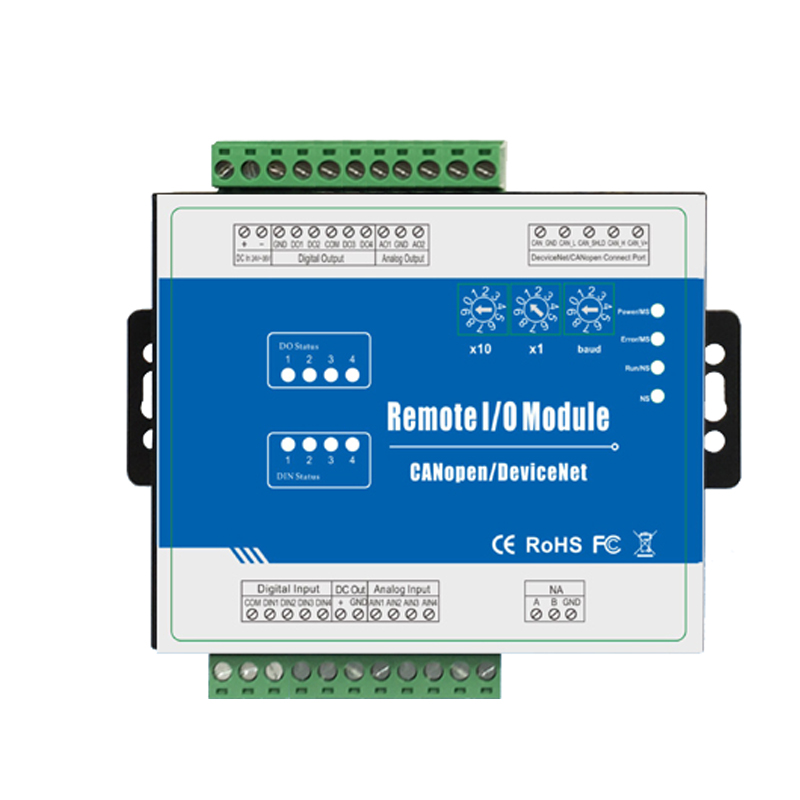 DeviceNet Remote I/O Module Data Acquisition Module CANBus Interface Support Predefined Master/Slave(4DI+4DO+4AI+2AO) M120D