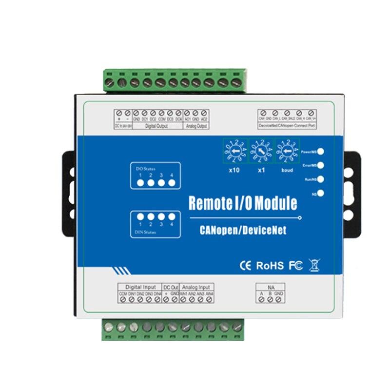 DeviceNet Remote I/O Module modulo di acquisizione dati CANBus Supporto Interfaccia Predefinita Master/Slave (4DI + 4DO + 4AI + 2AO) M120DDeviceNet Remote I/O Module modulo di acquisizione dati CANBus Supporto Interfaccia Predefinita Master/Slave (4DI + 4DO + 4AI + 2AO) M120D