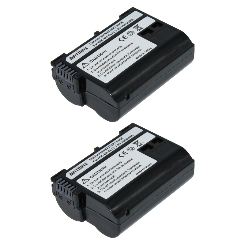 2Pcs EN EL15 EN EL15 ENEL15 Rechargeable Battery for Nikon D7000 V1 D600 D600E D800 D800E