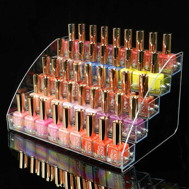 Cat kuku Rak Lipstik Perhiasan Tampilan Berdiri Holder 5 Tier Gaya Baru Makeup Mac Kosmetik Akrilik Yang Jelas Organizer Makeup Rak