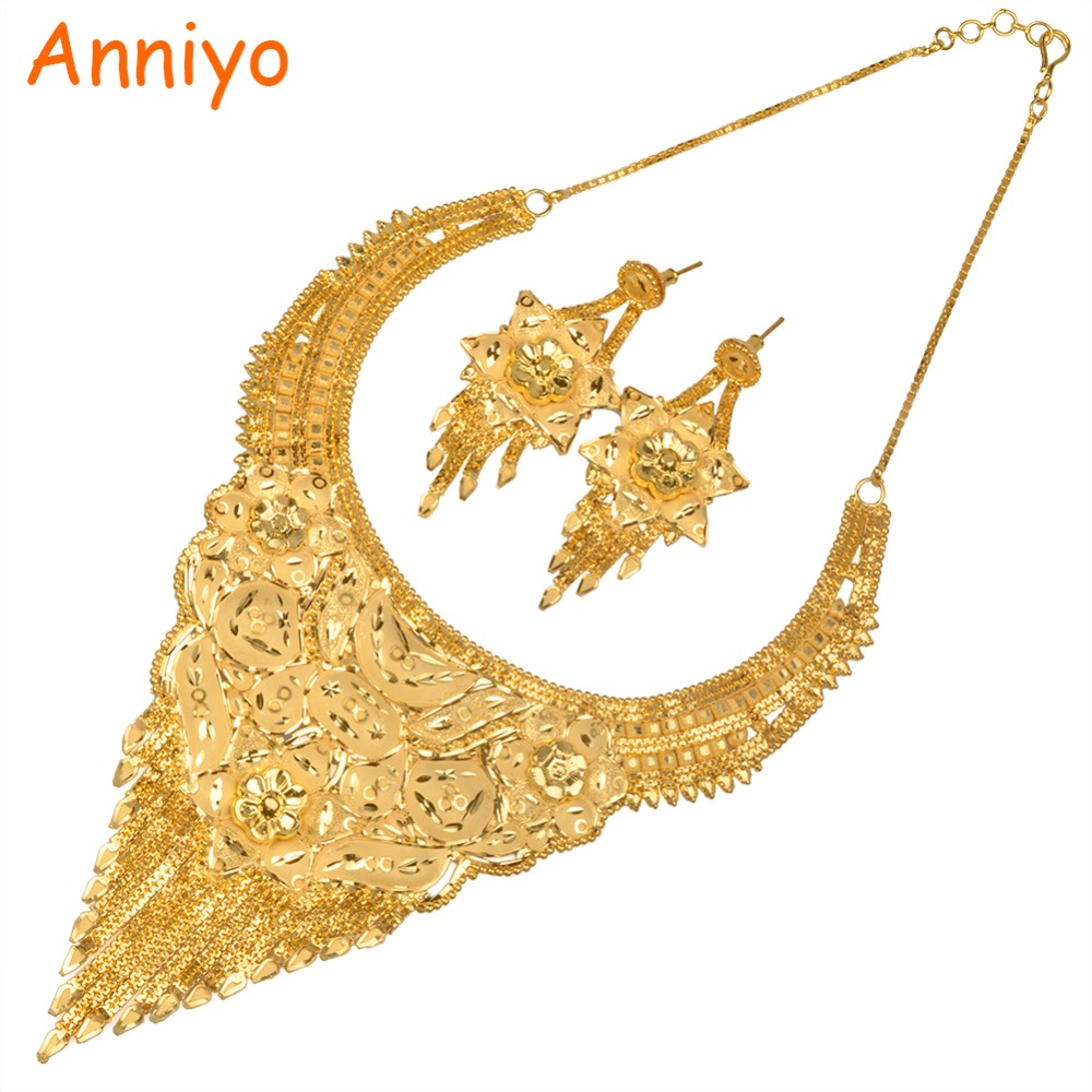 Anniyo Ethnic Women Necklace Earrings Sets Gold Color