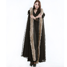 2016 Winter Steampunk European And American Style Gothic Palace Lace Long Cloak Female Coats Outwear Black Color Flocking Plush