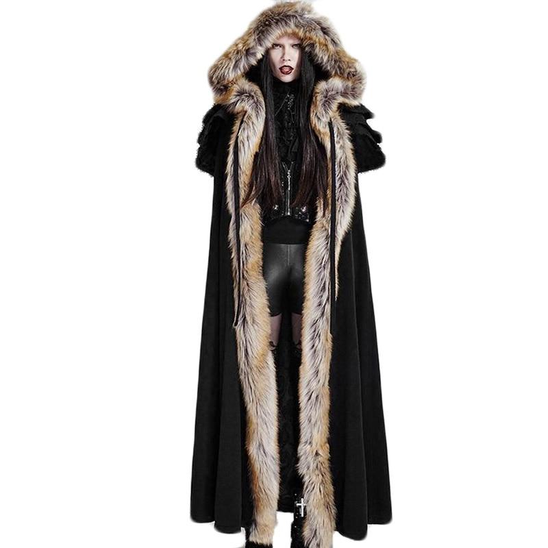 Gothique Hiver En Fausse fourrure de Femmes Long Manteau Noir Rouge Thermique Punk pull à capuche Femme à manches longues Ouvrir Point Manteaux Taille Libre - 3