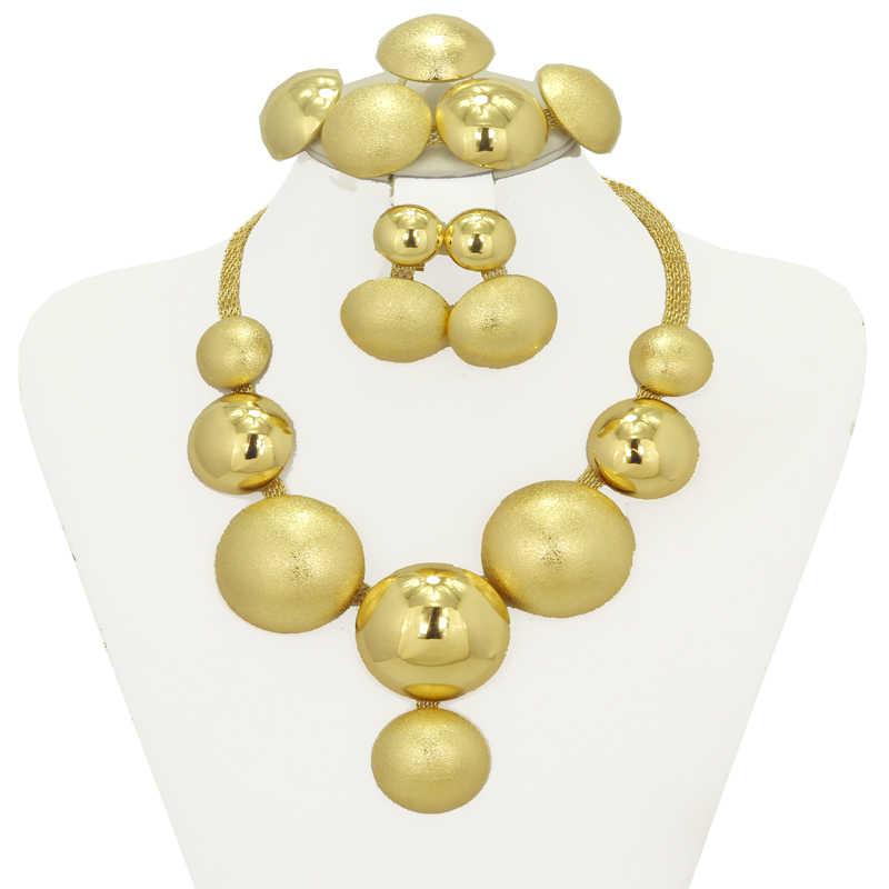 2017 אופנה חדשה דובאי תכשיטי חרוזים אפריקאים סט תכשיטי כלה זהב ציפוי קולר נשים שרשראות עגילים