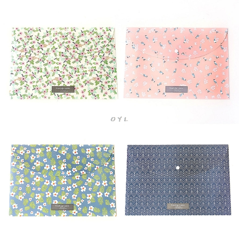 Durable Briefcase Folder Snap Floral File Bag Paper A4 School Stationery Store Office Supplies 1pc