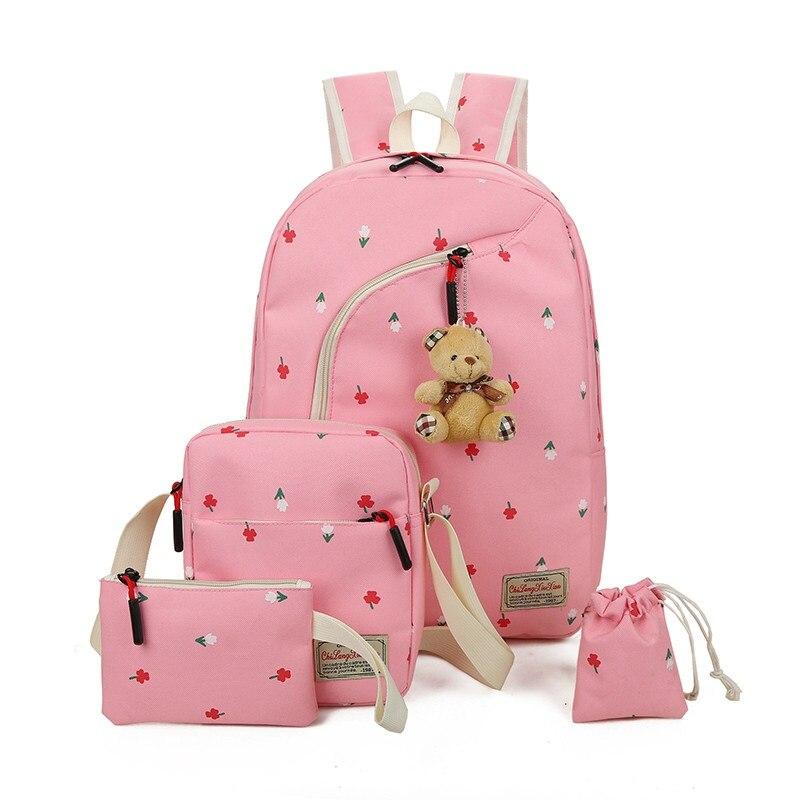 4Pcs Set Women Canvas Backpack School Book Bag for Teenager Girls Mochila Flower Print Lovely Bear