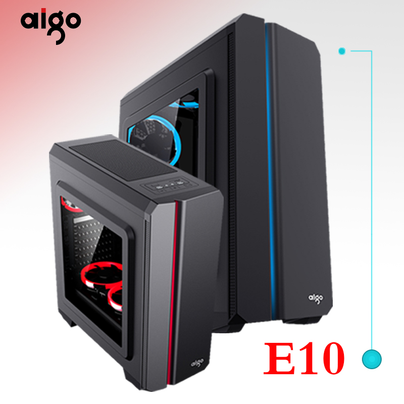 Aigo Aurora E10 ATX Computer Case colorful rgb light bar large side through back line game water-cooled desktop computer chassis