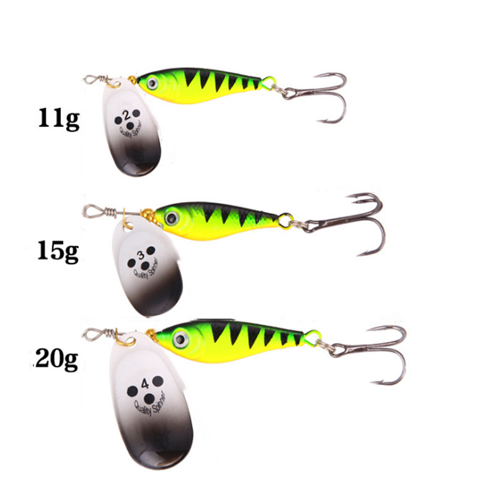 1pcs Rotating Metal Spinner Fishing Lures 11g 15g 20g Sequins Iscas Artificial Hard Bait Crap Bass Pike Fishing Tackle(China)