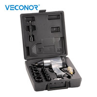 1/2 Drive Pneumatic Air Impact Wrench Kit Set Single Hammer Front Exhaust With 10 Pieces Sockets