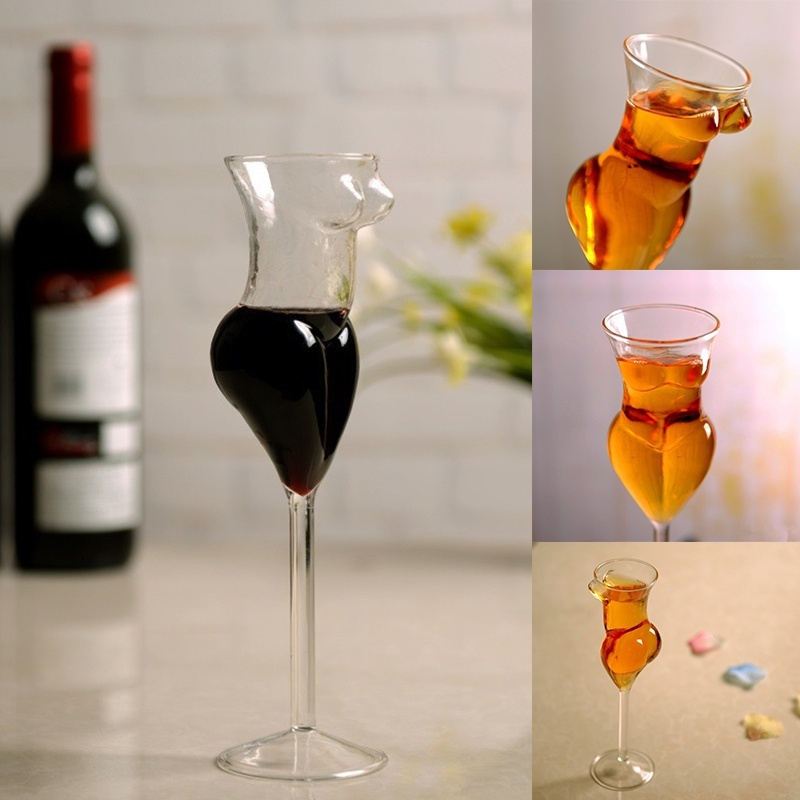 2pcs 200ML 7OZ Creative Naked Female body Wine glass goblet Sexy Beauty body Cocktail Glass for Bar and Club funny Wine glass