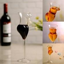 купить 2pcs/lot 200ML 7OZ Handmade Transparent Creative Female body shape Wine glass Cup Interesting Juice cup Cocktail Glass Bar glass дешево
