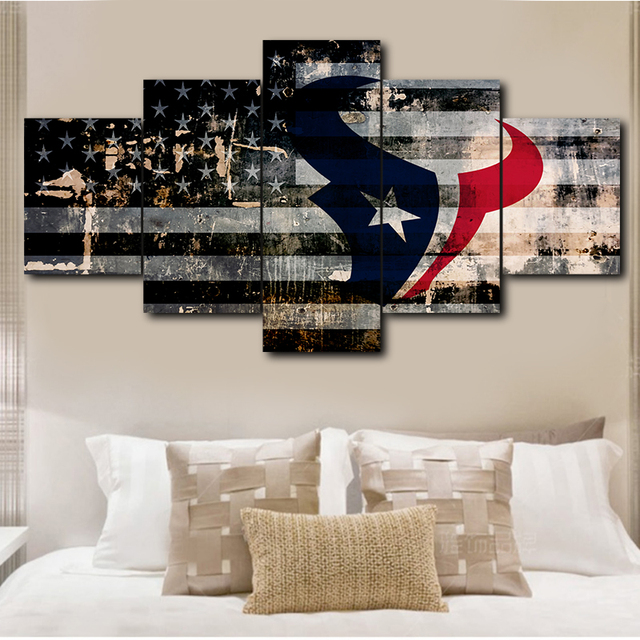 Houston Texans Art Poster Modern 5 Panels Living Room
