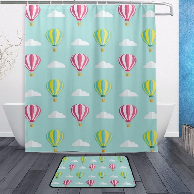 Decorative Waterproof Polyester Blue Shower Curtain 152cmx183cm With Hooks  Non Slip Doormats Bathroom Floor Mat Fire