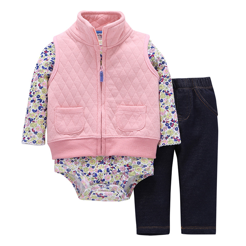 New baby girl clothes cotton fashion baby boy clothes kids bebes autumn spring clothing set Casual wear coat + pants + bodysuit
