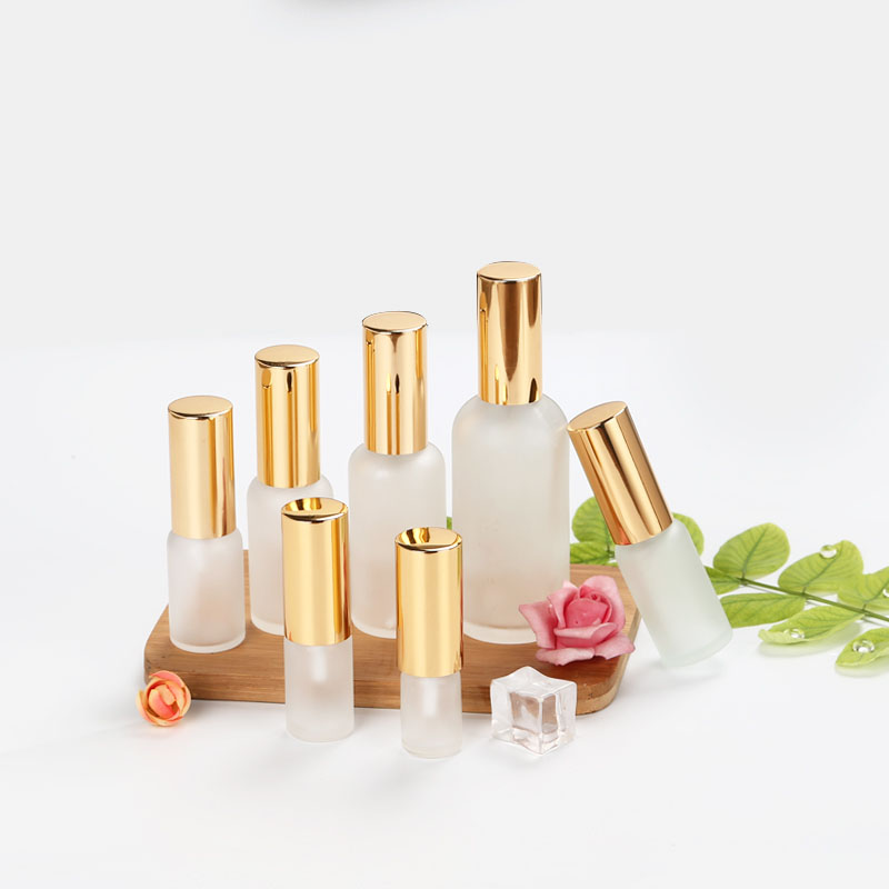 Essence Oil Lotion Pump Bottle Cosmetic Containers Bottle Spray Bottle Frosted Glass Empty Vial 10ml 15ml 20ml 30ml 100ml 15Pcs