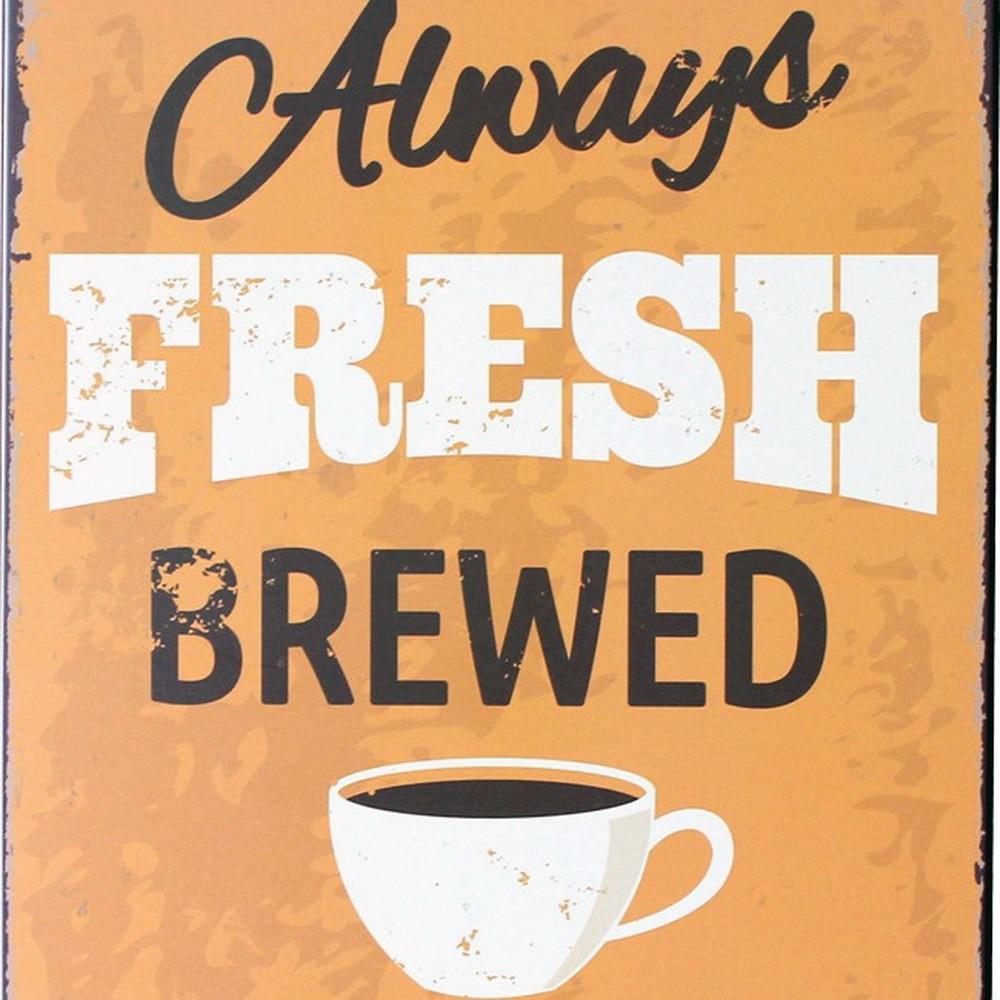 Immer FRISCH GEBRAUT KAFFEE Blechschild Vintage Zinn Kaffee Plaque - Wohnkultur - Foto 2