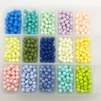 silicone beads round candy color 100PC baby teether 10-15mm Accessories Infant Necklace Pendant DIY nursing bracelet kids beads