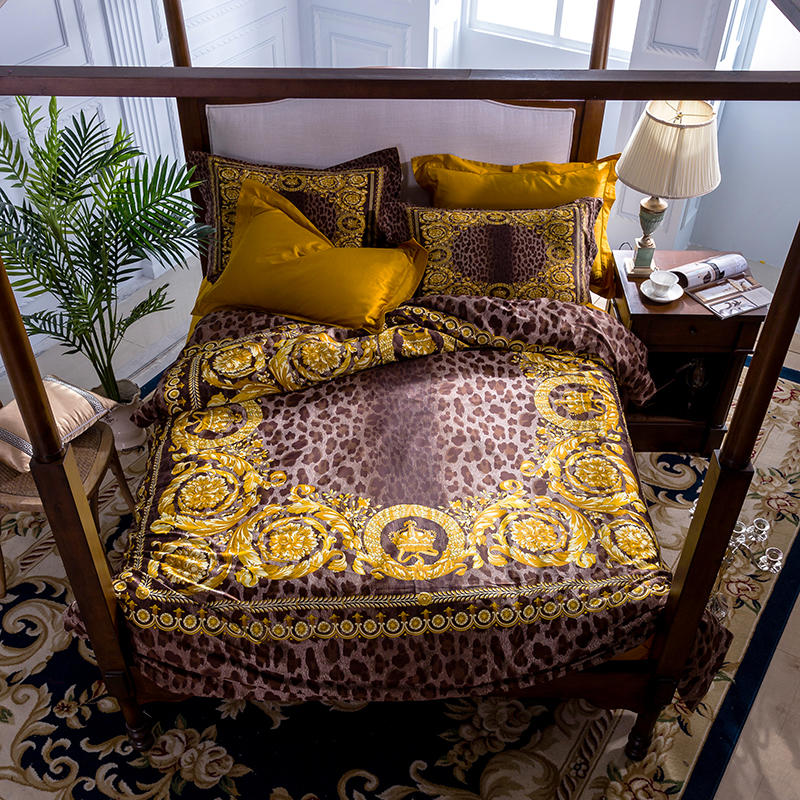 1000TC Egyptian Cotton Leopard Luxury Bedding Set QUEEN KING Bed sheet set Duvet Cover Fitted sheet