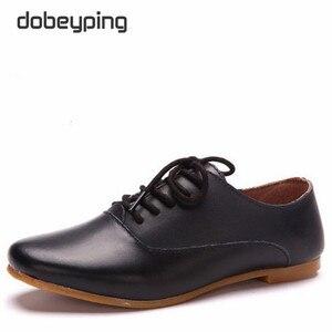 Image 4 - Mocassins en cuir véritable pour femmes, chaussures Oxfords, plates, à bout pointu, souples, chaussures de conduite, nouvelle collection chaussures décontractées à lacets
