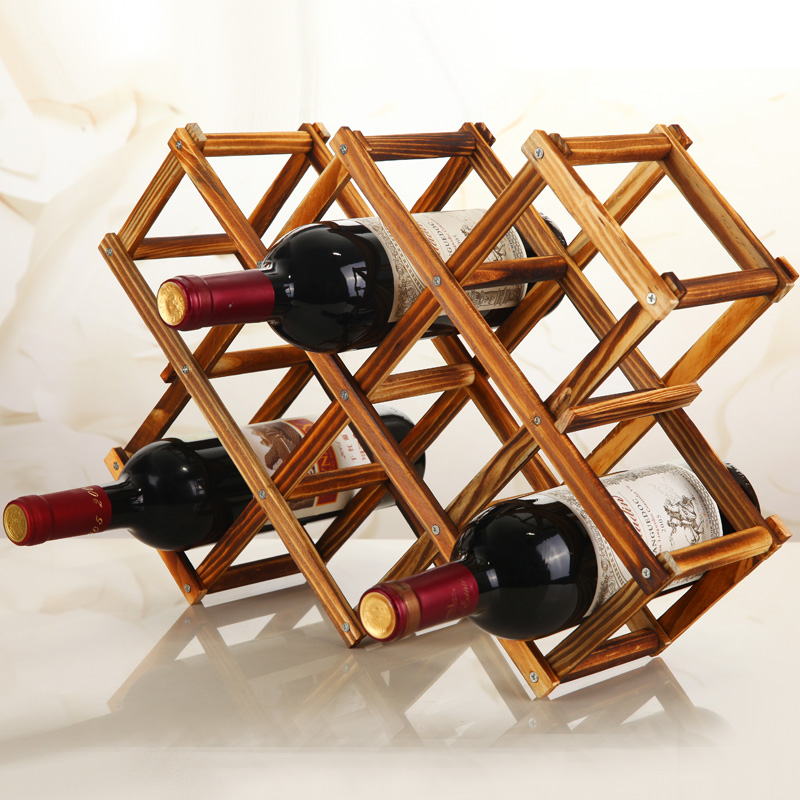 Quality Wooden Wine Bottle Holders Creative Practical Collapsible Living Room Decorative Cabinet Red Wine Display Storage Racks image