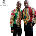Primavera verano otoño 2016 hombre abrigo dashiki Africano cera batik batik de impresión chaqueta de manga larga de algodón que empalma Hombres ropa