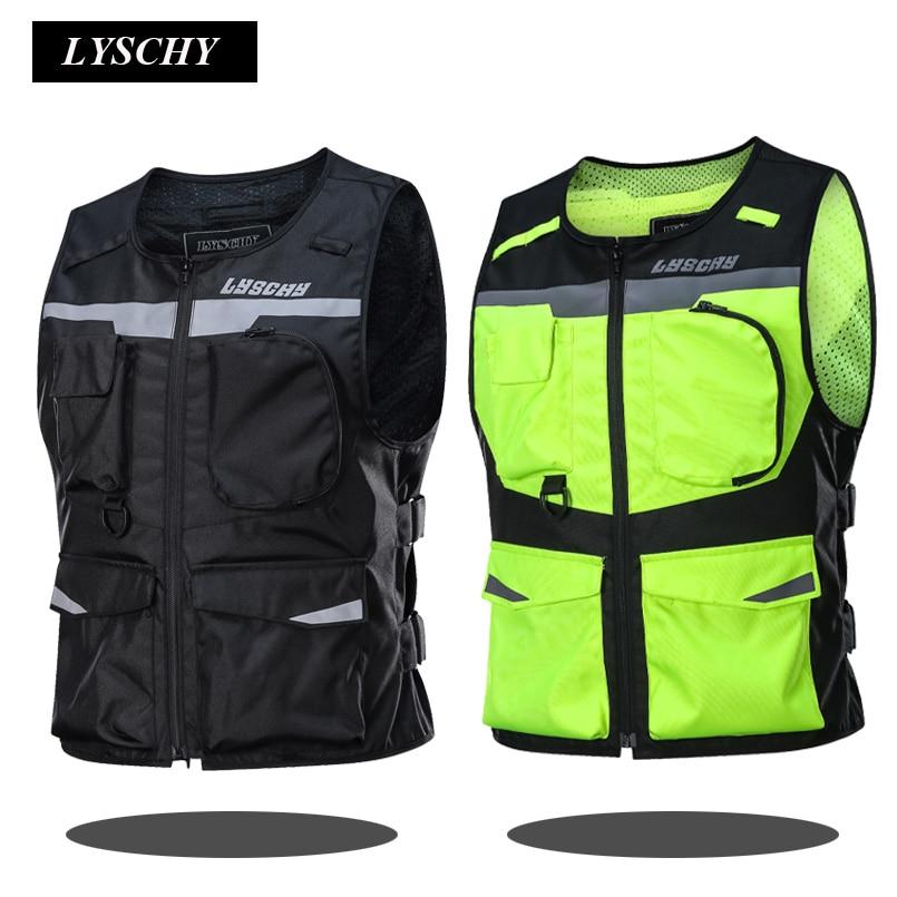 LYSCHY Motorcycle Reflective Vest Motorbike Racing Vest Street Off Road Safety Jacket Oxford Moto Vest With