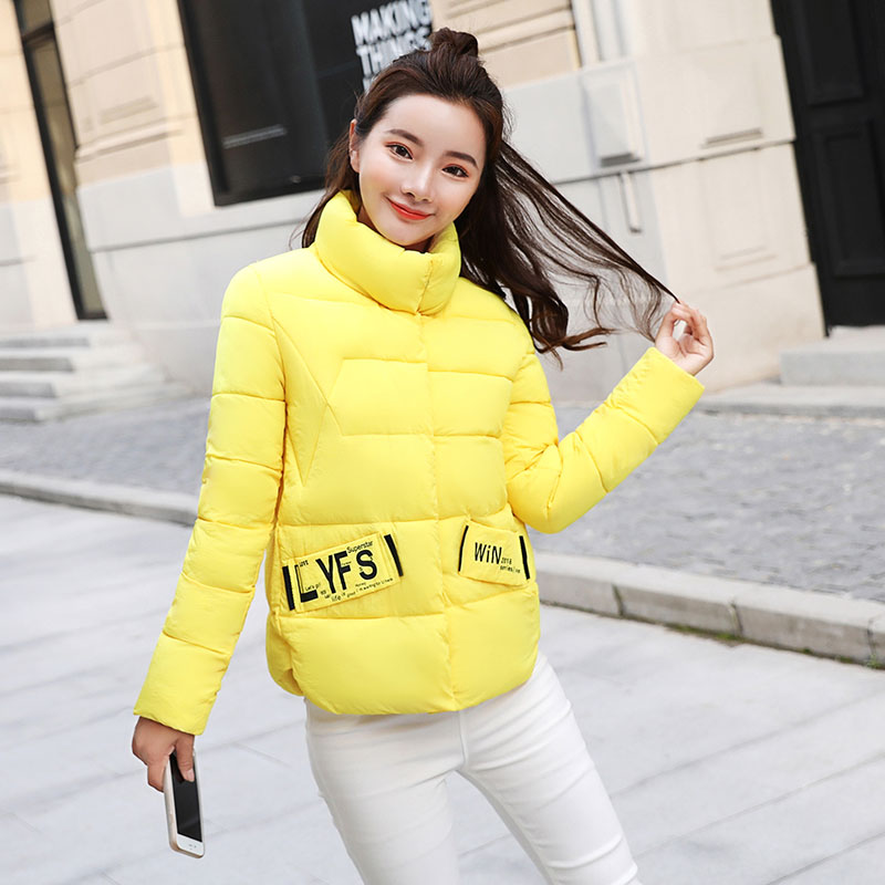 New Autumn Winter   Parkas   for Women 2018 Cotton Jackets Short Coat print Stand collar Students jacket Plus size Female Tops 2134