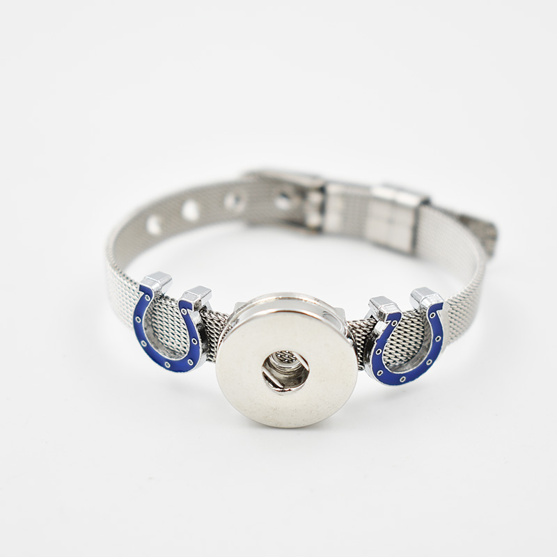Indianapolis Colts 2017 Enamel Slide Charms Bracelet 8MM Net 18MM Snap Button Bracelet(Stainless Steel Bracelet)