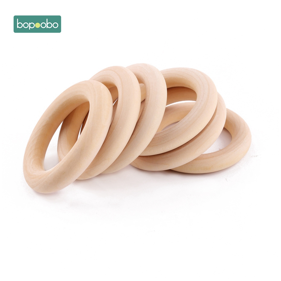 Bopoobo 20Pc Wooden Teether Personalized Wooden Maple Ring New Born Baby Toys Baby Gym Wood Rings Wooden Teething Ring