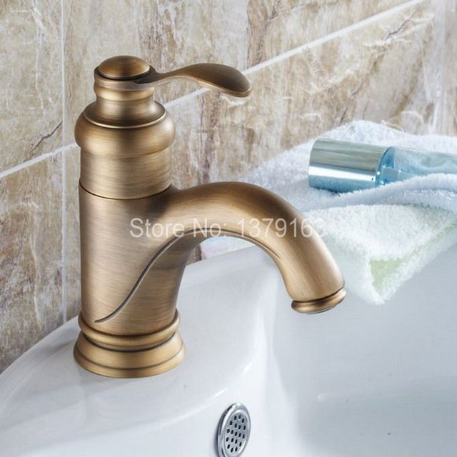 Antique Brass Single Lever Handle Bathroom Vessel Sink Basin ...